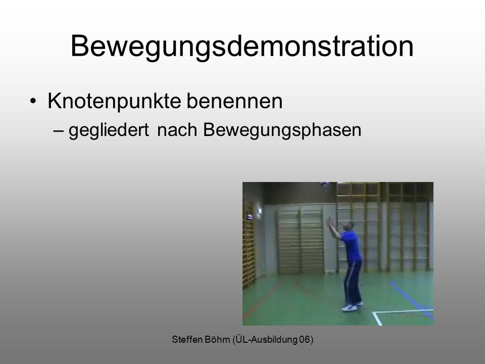 Steffen Böhm (ÜL-Ausbildung 06) Bewegungsdemonstration Knotenpunkte benennen –gegliedert nach Bewegungsphasen