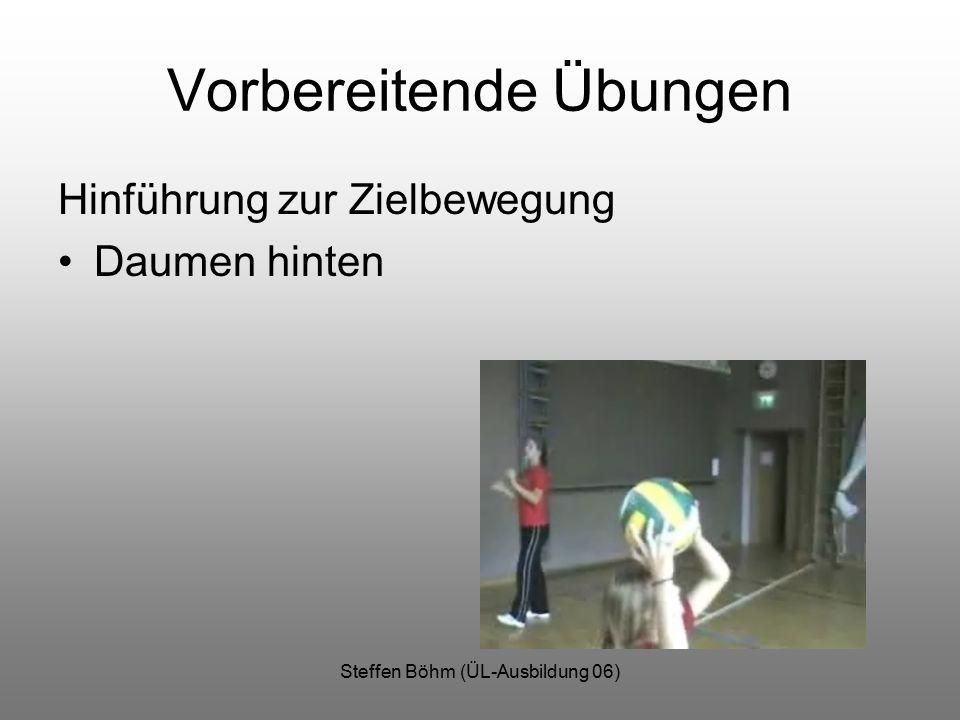 Steffen Böhm (ÜL-Ausbildung 06) Vorbereitende Übungen Hinführung zur Zielbewegung Daumen hinten