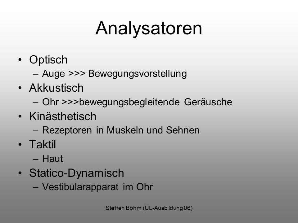 Steffen Böhm (ÜL-Ausbildung 06) Analysatoren Optisch –Auge >>> Bewegungsvorstellung Akkustisch –Ohr >>>bewegungsbegleitende Geräusche Kinästhetisch –Rezeptoren in Muskeln und Sehnen Taktil –Haut Statico-Dynamisch –Vestibularapparat im Ohr