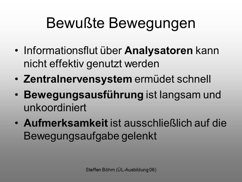 Steffen Böhm (ÜL-Ausbildung 06) Bewußte Bewegungen Informationsflut über Analysatoren kann nicht effektiv genutzt werden Zentralnervensystem ermüdet s