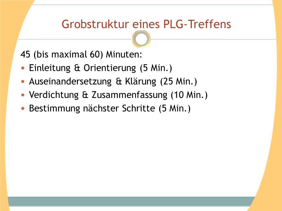 Grobstruktur eines PLG-Treffens 45 (bis maximal 60) Minuten: Einleitung & Orientierung (5 Min.) Auseinandersetzung & Klärung (25 Min.) Verdichtung & Z
