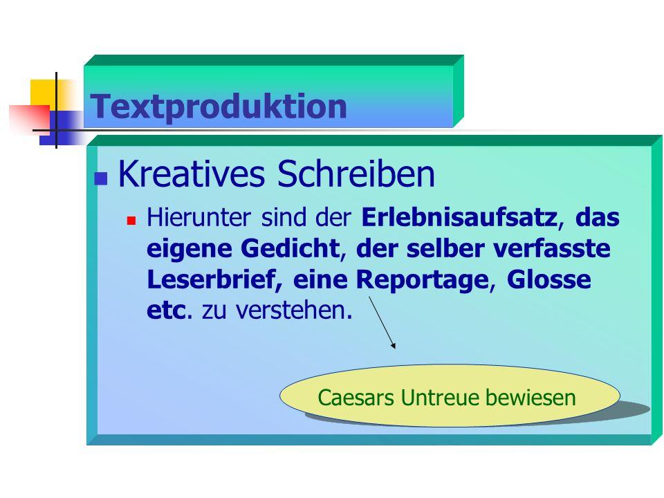 Textproduktion Kreatives Schreiben Hierunter sind der Erlebnisaufsatz, das eigene Gedicht, der selber verfasste Leserbrief, eine Reportage, Glosse etc.