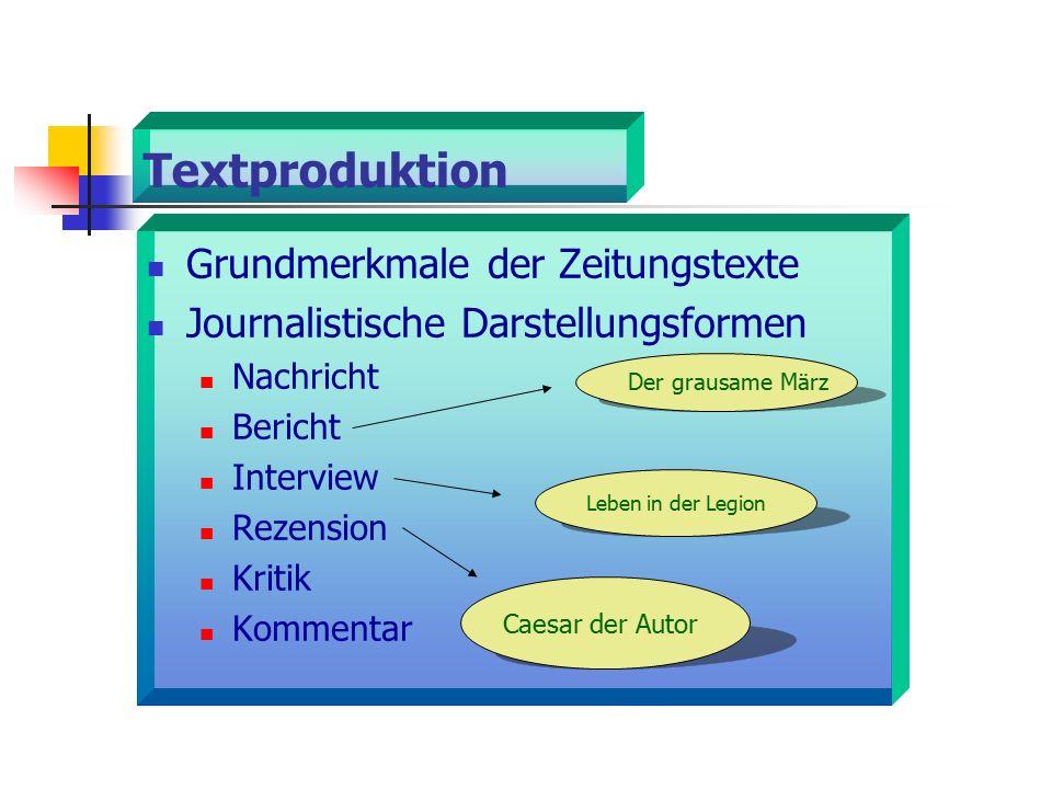 Textproduktion Grundmerkmale der Zeitungstexte Journalistische Darstellungsformen Nachricht Bericht Interview Rezension Kritik Kommentar Leben in der