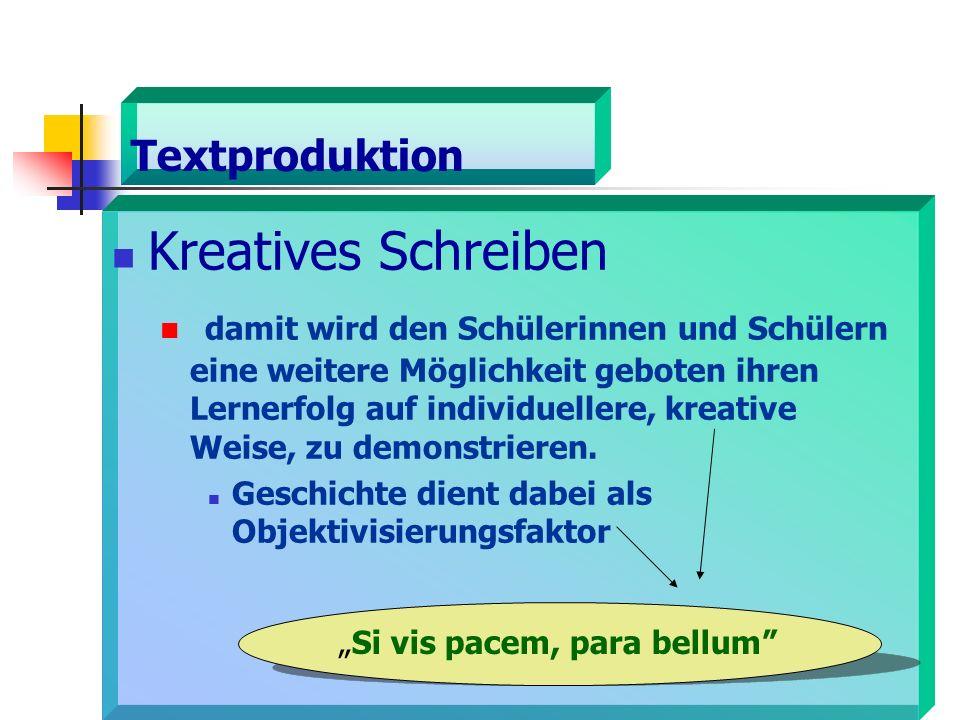 Textproduktion Kreatives Schreiben damit wird den Schülerinnen und Schülern eine weitere Möglichkeit geboten ihren Lernerfolg auf individuellere, kreative Weise, zu demonstrieren.