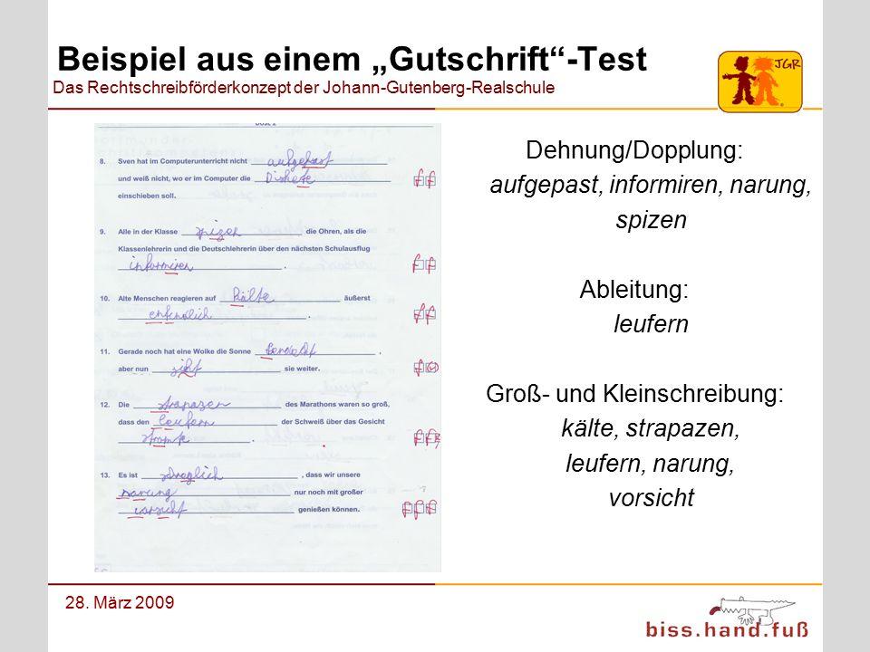 Das Rechtschreibförderkonzept der Johann-Gutenberg-Realschule 28. März 2009