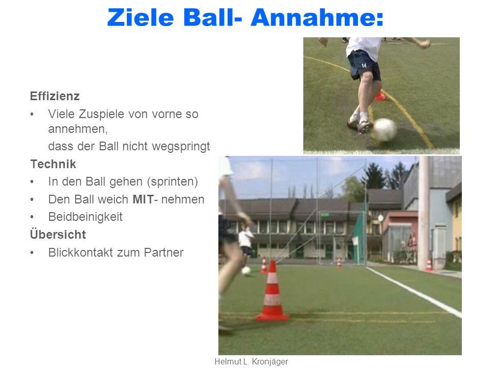 Ziele Ball- Annahme: Effizienz Viele Zuspiele von vorne so annehmen, dass der Ball nicht wegspringt Technik In den Ball gehen (sprinten) Den Ball weich MIT- nehmen Beidbeinigkeit Übersicht Blickkontakt zum Partner Helmut L.