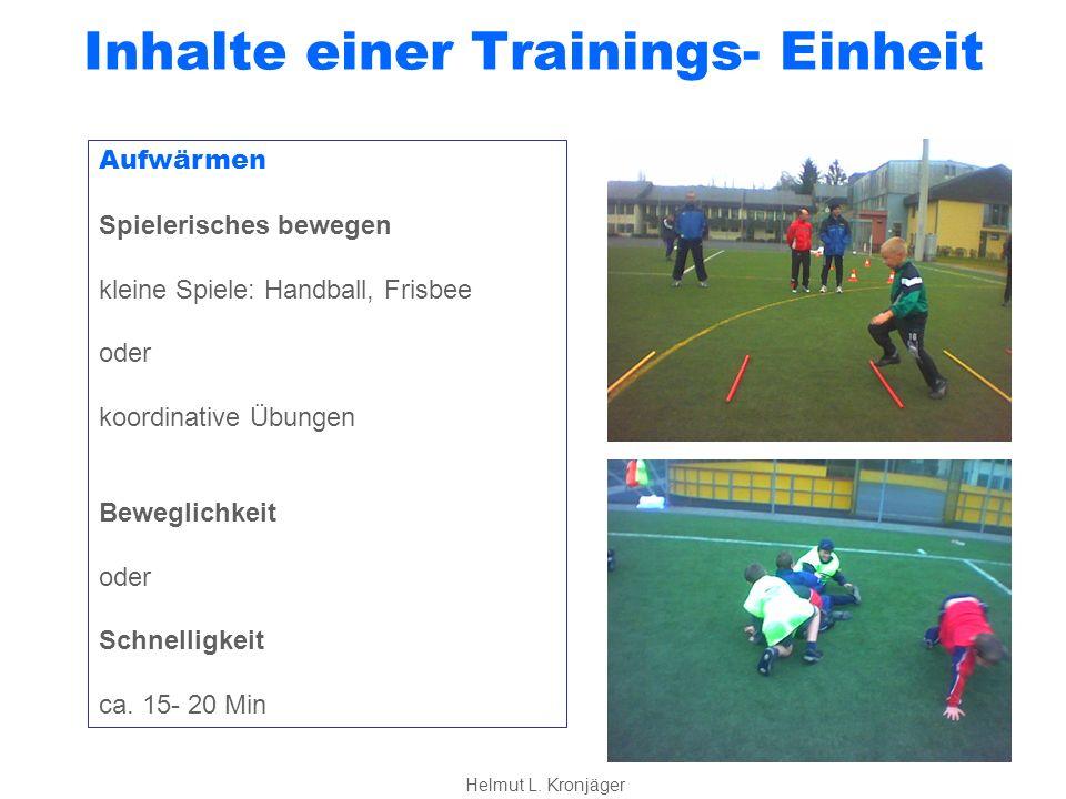 Inhalte einer Trainings- Einheit Spielen Spiel 1 Eine Spiel mit bestimmten Aufgaben, die dem Lernthema entsprechen ROTER FADEN 5:5, 4:4, 3:3, 2:2, 1:1 Alle Spiele auch Unter- Überzahl 3:2, 4:3, 5:4 ca.