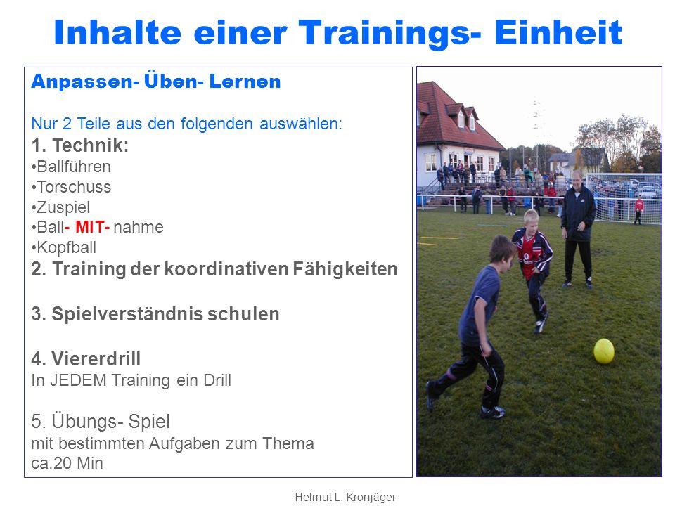 Inhalte einer Trainings- Einheit Spielen Spiel 2 Freies Spiel Ziele sind: Spielfreude und Kreativität Trainer zieht sich zurück: Beobachten Analysieren Aufbauende Kritik und LOB ca.