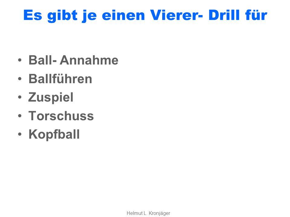 Es gibt je einen Vierer- Drill für Ball- Annahme Ballführen Zuspiel Torschuss Kopfball Helmut L.