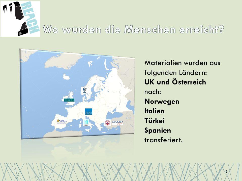 5 Materialien wurden aus folgenden Ländern: UK und Österreich nach: Norwegen Italien Türkei Spanien transferiert.