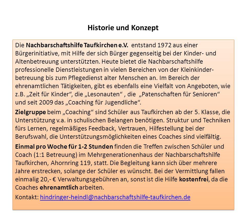 Historie und Konzept Die Nachbarschaftshilfe Taufkirchen e.V.