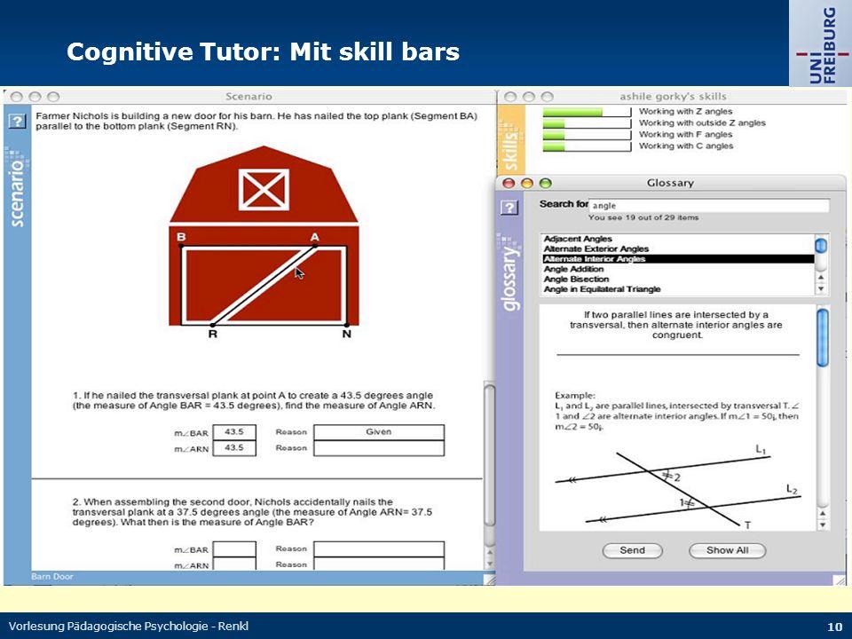 Vorlesung Pädagogische Psychologie - Renkl 10 Cognitive Tutor: Mit skill bars