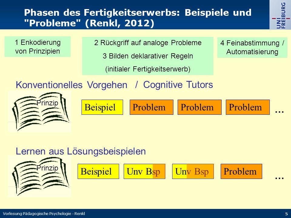 Vorlesung Pädagogische Psychologie - Renkl 16 Üben zur Automatisierung Funktion der Stärkung von mentalen Regeln (Produktionsregeln) bzw.