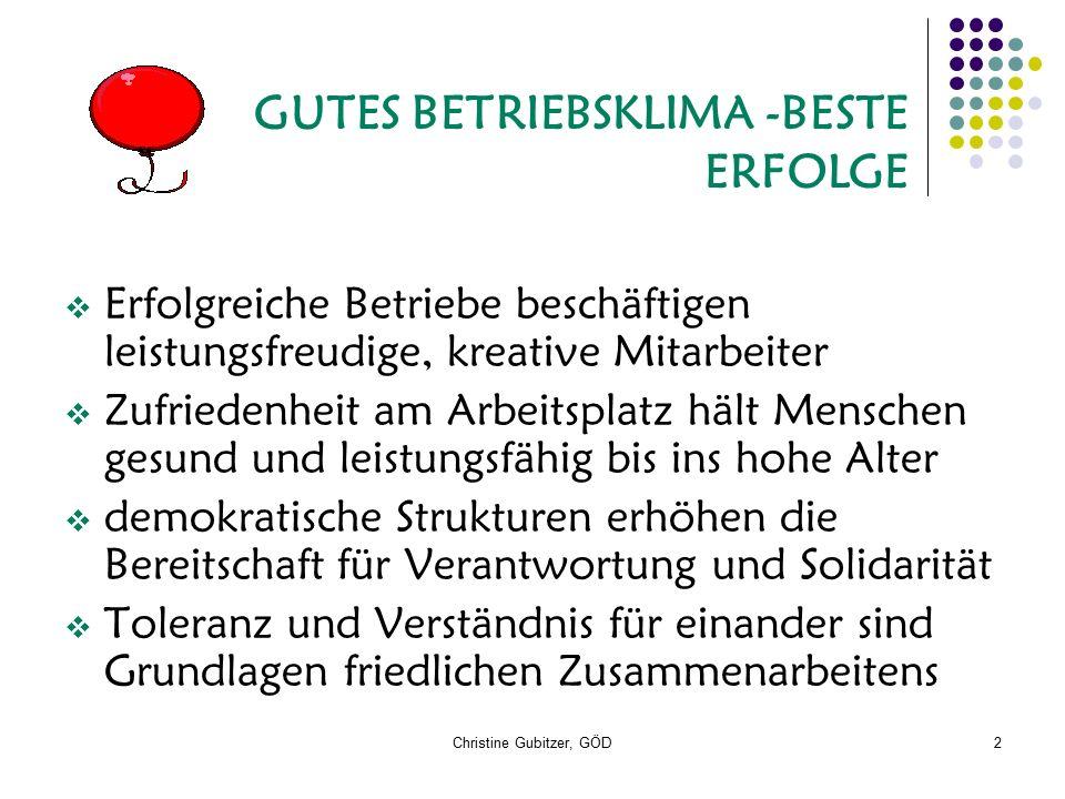 Christine Gubitzer, GÖD2 GUTES BETRIEBSKLIMA -BESTE ERFOLGE  Erfolgreiche Betriebe beschäftigen leistungsfreudige, kreative Mitarbeiter  Zufriedenhe