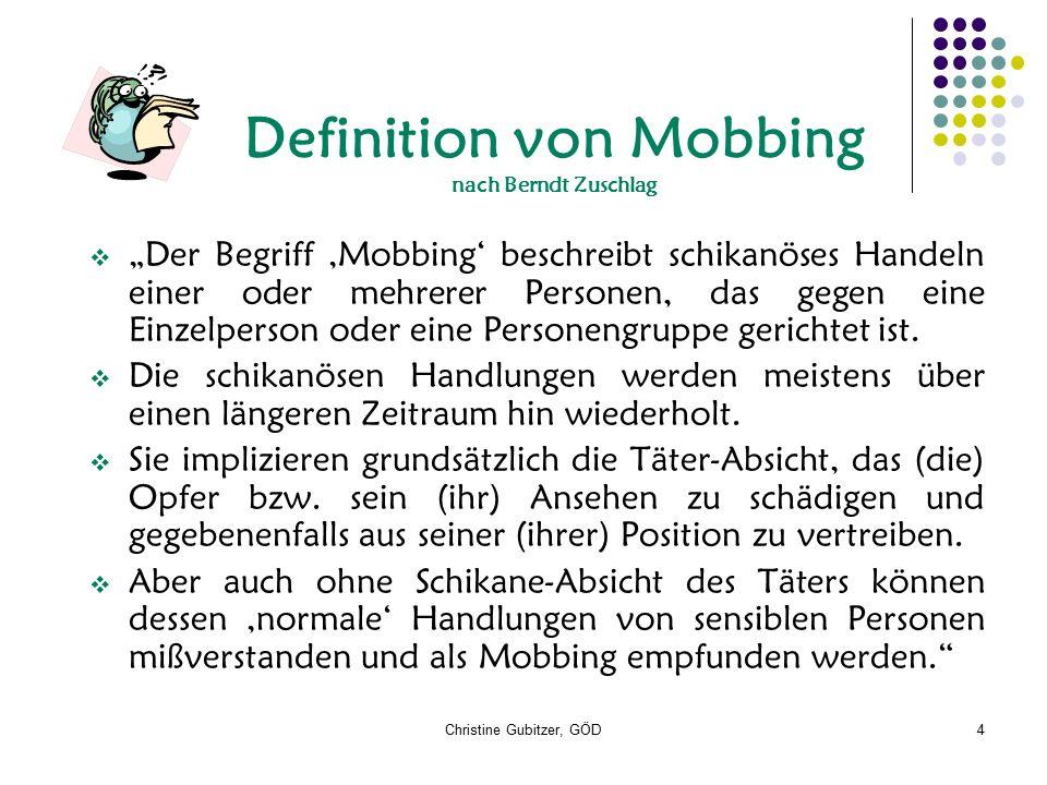 """Christine Gubitzer, GÖD4 Definition von Mobbing nach Berndt Zuschlag  """"Der Begriff 'Mobbing' beschreibt schikanöses Handeln einer oder mehrerer Perso"""