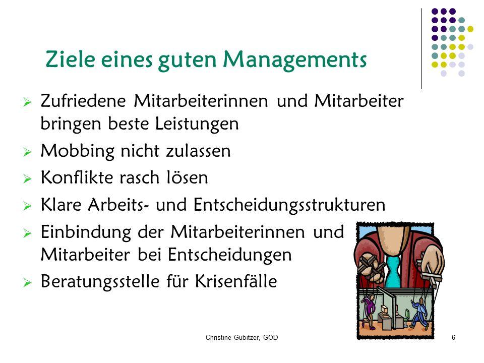 Christine Gubitzer, GÖD6 Ziele eines guten Managements  Zufriedene Mitarbeiterinnen und Mitarbeiter bringen beste Leistungen  Mobbing nicht zulassen