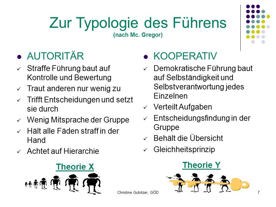 Christine Gubitzer, GÖD7 Zur Typologie des Führens (nach Mc.