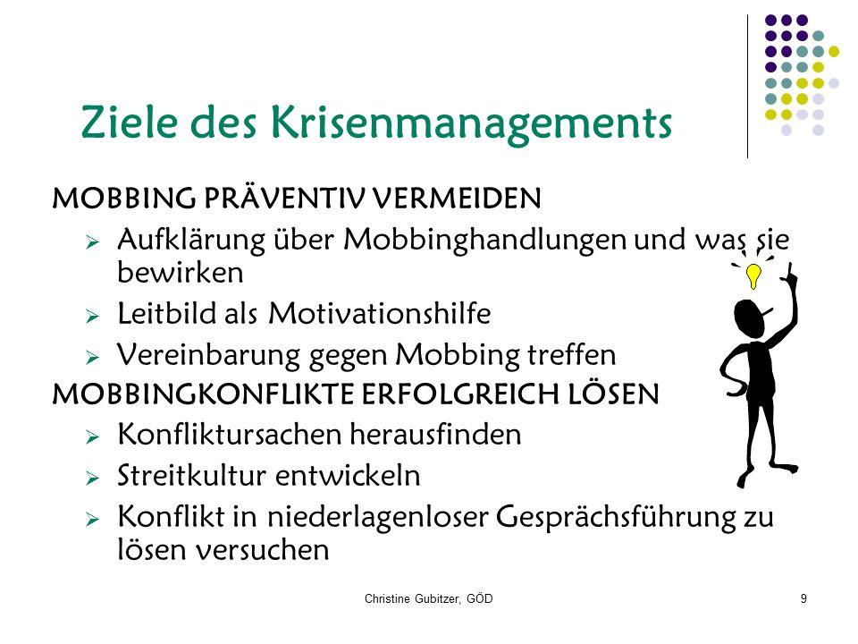 Christine Gubitzer, GÖD9 Ziele des Krisenmanagements MOBBING PRÄVENTIV VERMEIDEN  Aufklärung über Mobbinghandlungen und was sie bewirken  Leitbild a
