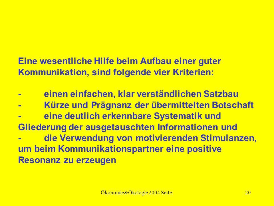 Ökonomie&Ökologie 2004 Seite:19 Der Austausch von Informationen, kann u.a.