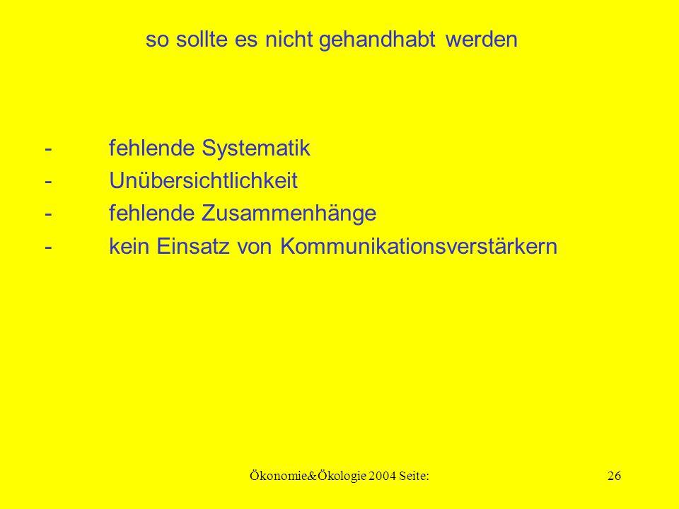 Ökonomie&Ökologie 2004 Seite:25 Forderung nach Systematik und Gliederung - erkennbare Systematik - Übersichtlichkeit - erkennbare Unterscheidung - Zusammenfassung
