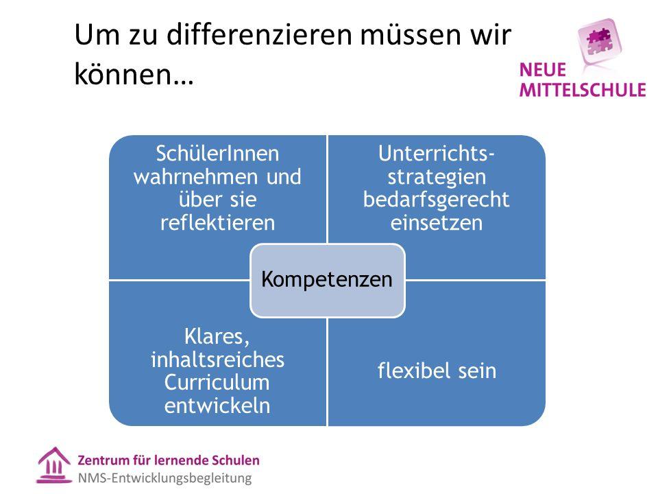Um zu differenzieren müssen wir können… SchülerInnen wahrnehmen und über sie reflektieren Unterrichts- strategien bedarfsgerecht einsetzen Klares, inhaltsreiches Curriculum entwickeln flexibel sein Kompetenzen