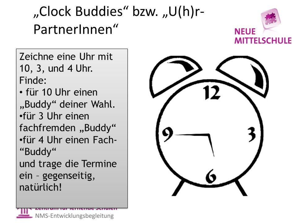 """""""Clock Buddies bzw. """"U(h)r- PartnerInnen Zeichne eine Uhr mit 10, 3, und 4 Uhr."""