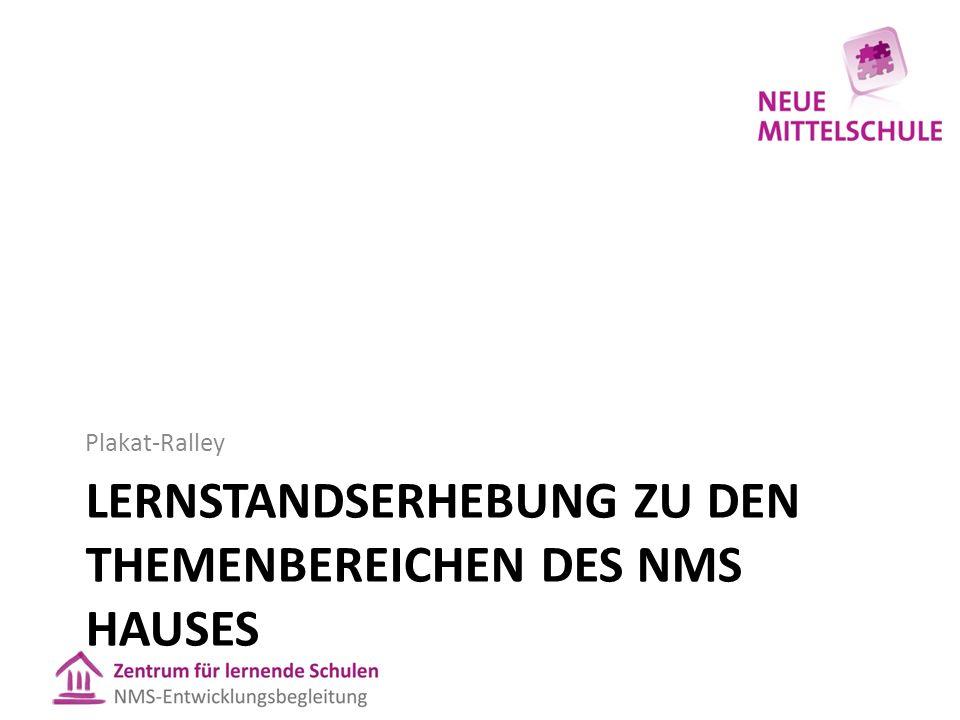 LERNSTANDSERHEBUNG ZU DEN THEMENBEREICHEN DES NMS HAUSES Plakat-Ralley