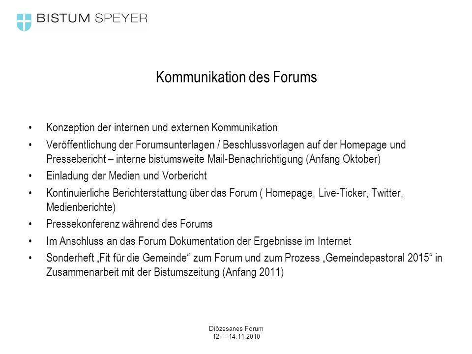 Diözesanes Forum 12. – 14.11.2010 Kommunikation des Forums Konzeption der internen und externen Kommunikation Veröffentlichung der Forumsunterlagen /