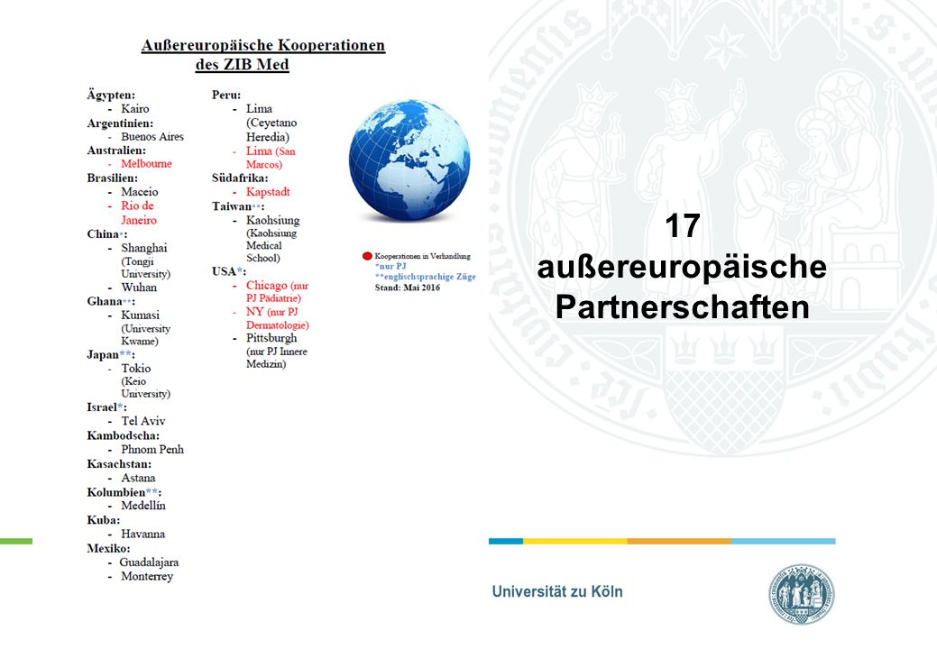 17 außereuropäische Partnerschaften