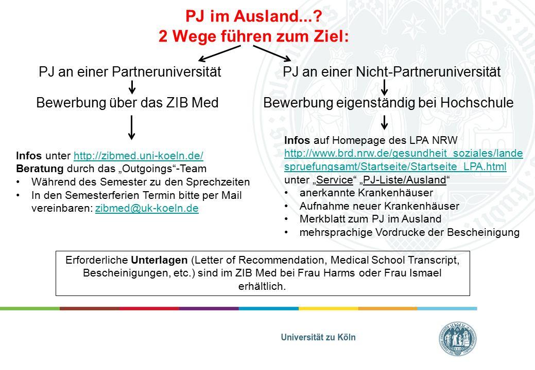 PJ im Ausland...? 2 Wege führen zum Ziel: PJ an einer PartneruniversitätPJ an einer Nicht-Partneruniversität Infos unter http://zibmed.uni-koeln.de/ht
