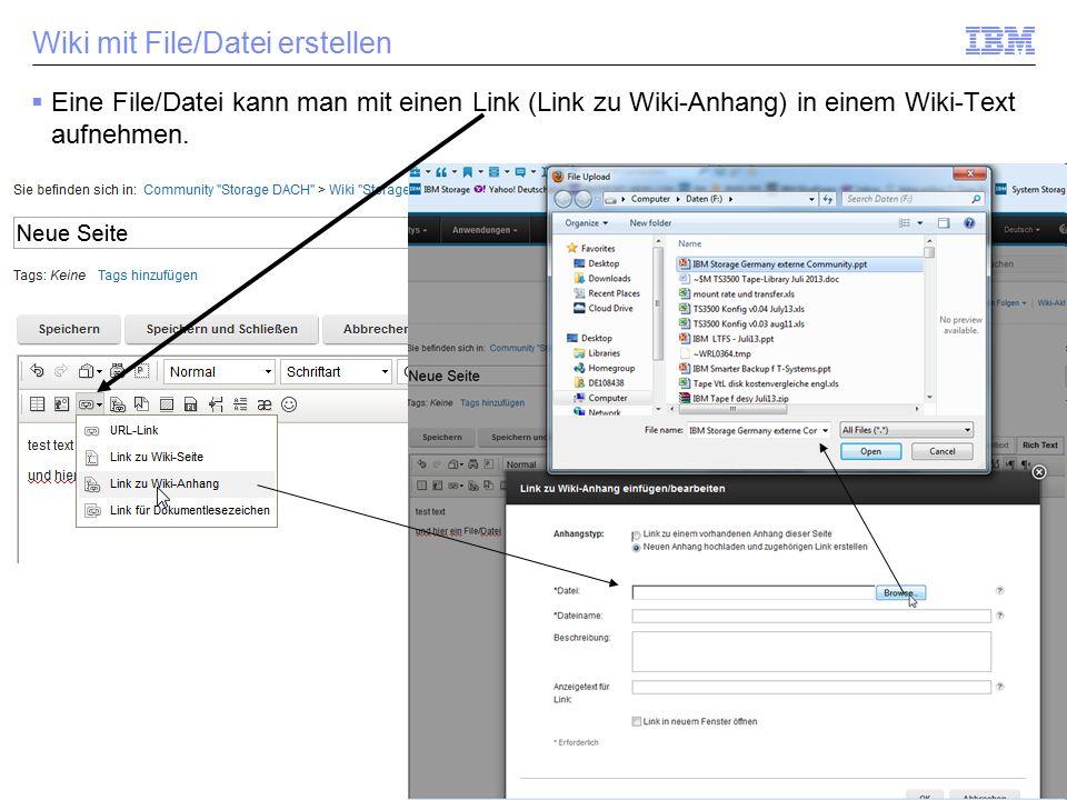 Wiki mit File/Datei erstellen  Eine File/Datei kann man mit einen Link (Link zu Wiki-Anhang) in einem Wiki-Text aufnehmen.