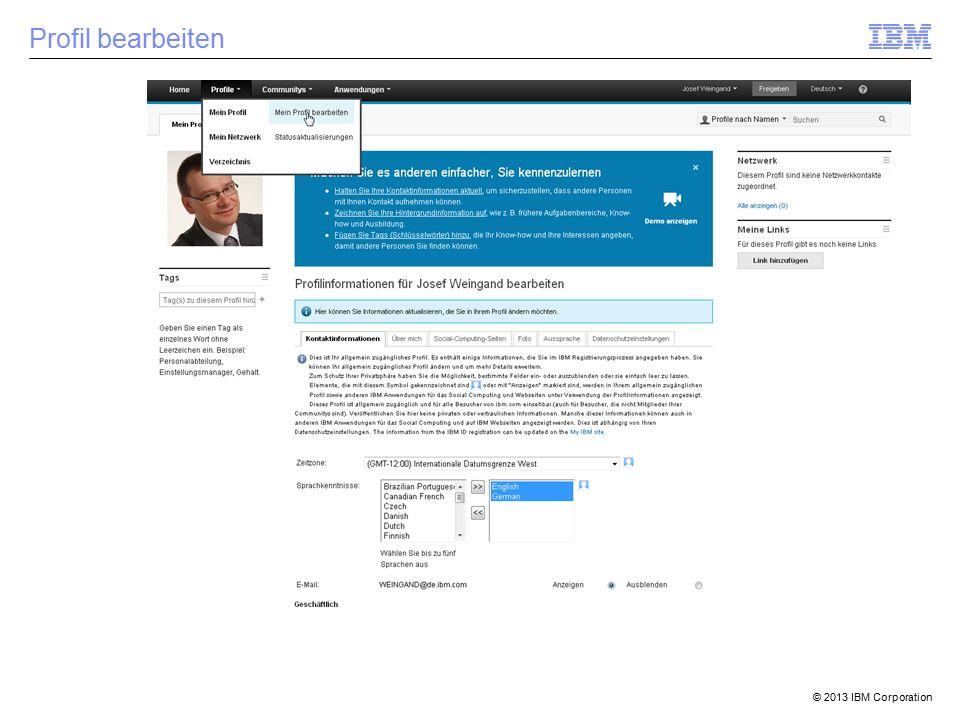 © 2013 IBM Corporation Profil bearbeiten