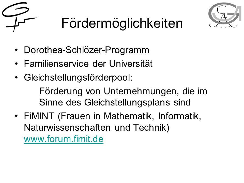Fördermöglichkeiten Dorothea-Schlözer-Programm Familienservice der Universität Gleichstellungsförderpool: Förderung von Unternehmungen, die im Sinne des Gleichstellungsplans sind FiMINT (Frauen in Mathematik, Informatik, Naturwissenschaften und Technik) www.forum.fimit.de www.forum.fimit.de