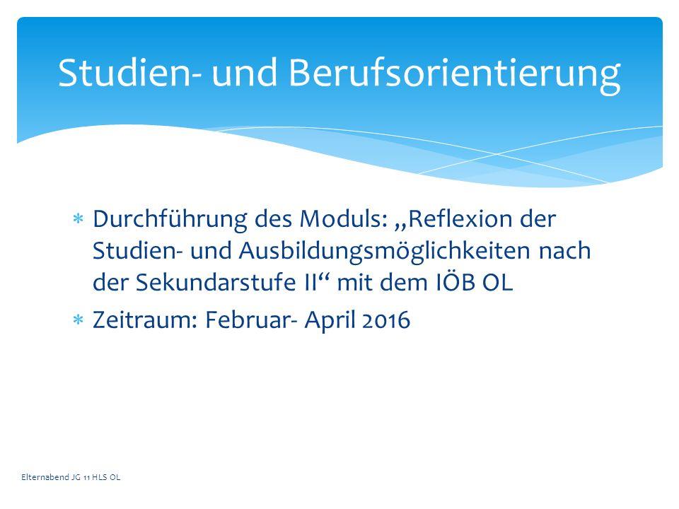 """ Durchführung des Moduls: """"Reflexion der Studien- und Ausbildungsmöglichkeiten nach der Sekundarstufe II"""" mit dem IÖB OL  Zeitraum: Februar- April 2"""