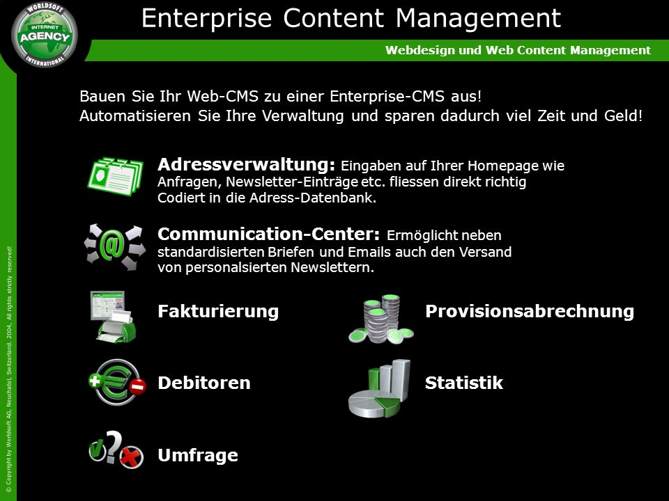 Webdesign und Web Content Management © Copyright by Worldsoft AG, Neuchatel, Switzerland. 2004, All rights strictly reserved! Adressverwaltung: Eingab