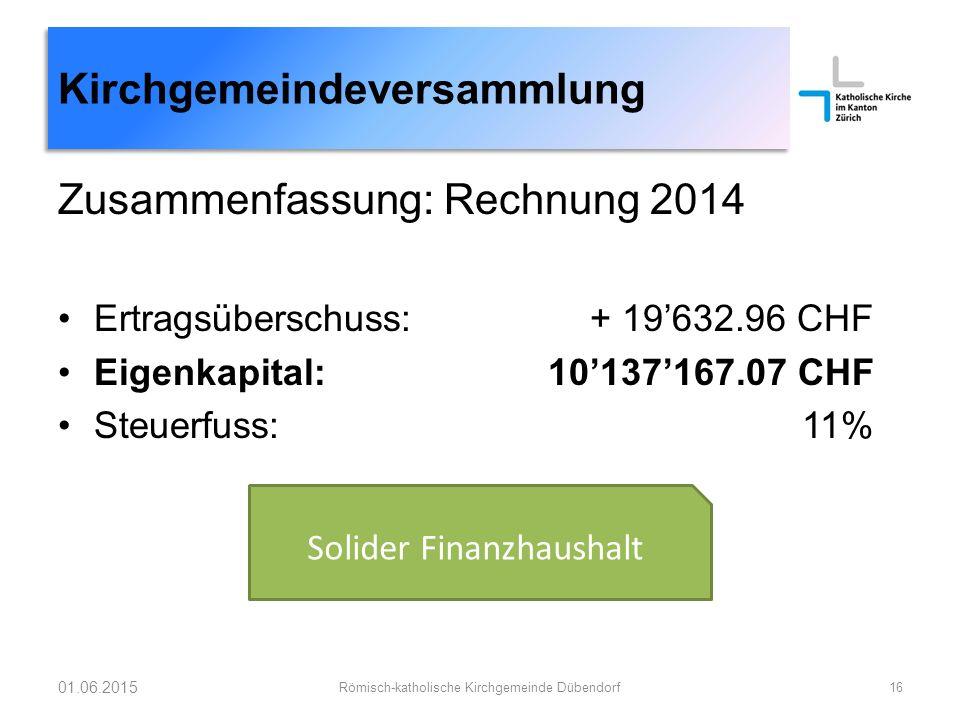 Zusammenfassung: Rechnung 2014 Ertragsüberschuss: + 19'632.96 CHF Eigenkapital: 10'137'167.07 CHF Steuerfuss: 11% 01.06.2015 Römisch-katholische Kirch