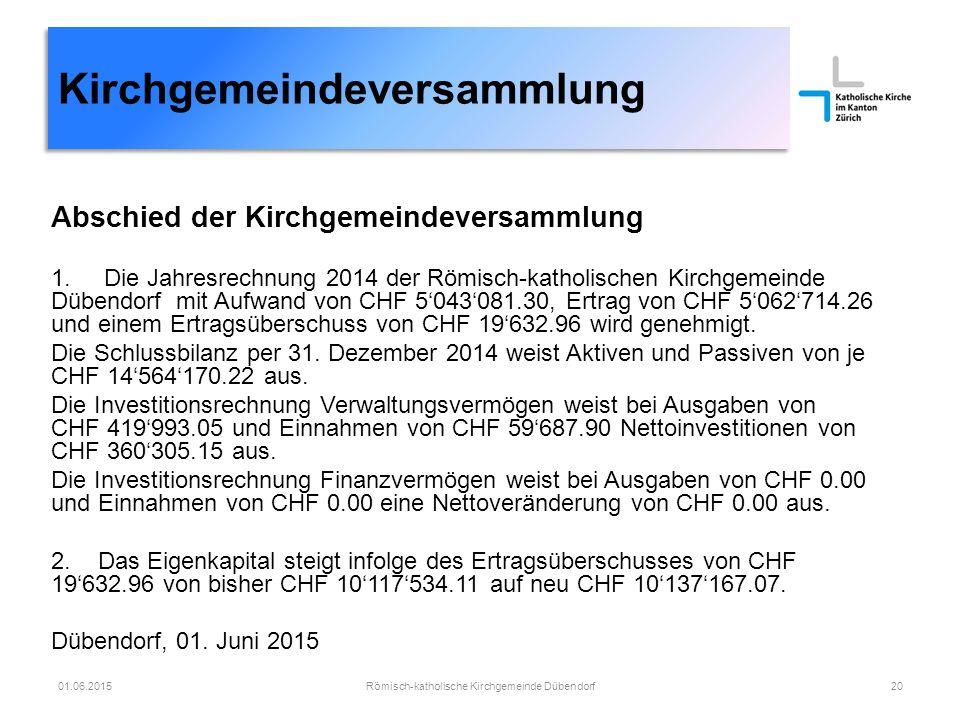 Abschied der Kirchgemeindeversammlung 1. Die Jahresrechnung 2014 der Römisch-katholischen Kirchgemeinde Dübendorf mit Aufwand von CHF 5'043'081.30, Er