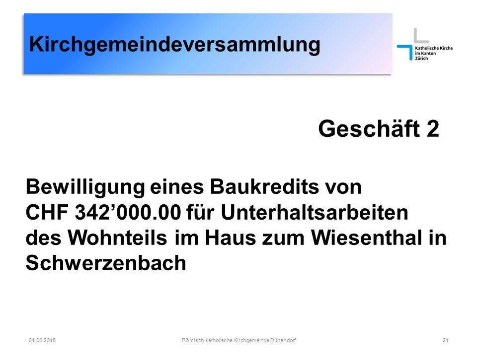Geschäft 2 Römisch-katholische Kirchgemeinde Dübendorf2101.06.2015 Bewilligung eines Baukredits von CHF 342'000.00 für Unterhaltsarbeiten des Wohnteils im Haus zum Wiesenthal in Schwerzenbach