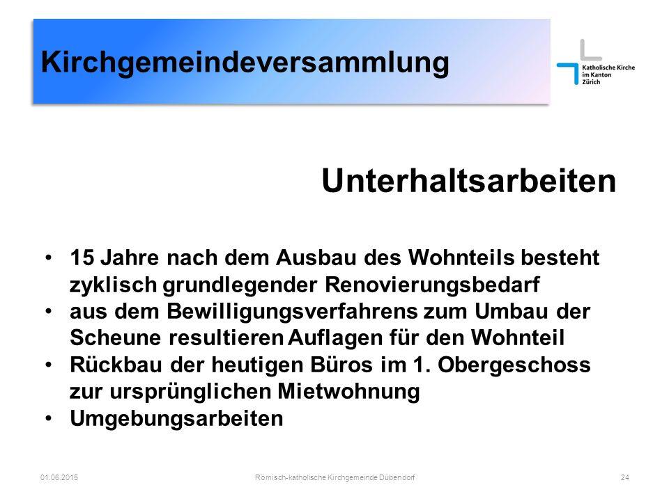 Kirchgemeindeversammlung Römisch-katholische Kirchgemeinde Dübendorf2401.06.2015 Unterhaltsarbeiten 15 Jahre nach dem Ausbau des Wohnteils besteht zyk
