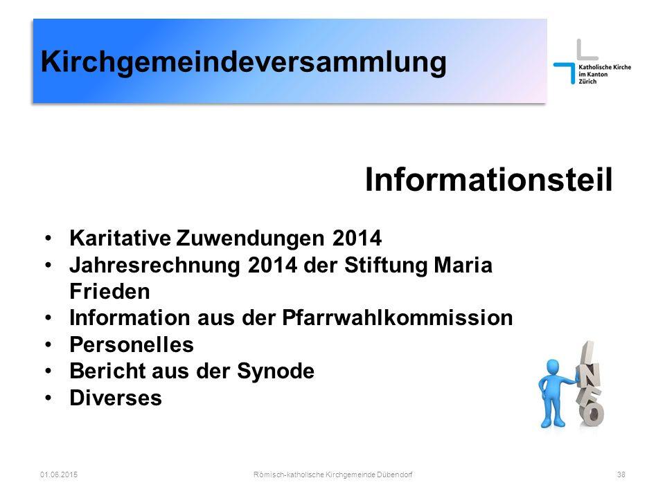 Kirchgemeindeversammlung Informationsteil Karitative Zuwendungen 2014 Jahresrechnung 2014 der Stiftung Maria Frieden Information aus der Pfarrwahlkomm