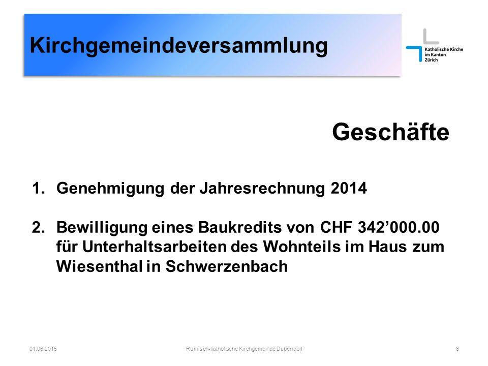 Kirchgemeindeversammlung Geschäfte 1.Genehmigung der Jahresrechnung 2014 2.Bewilligung eines Baukredits von CHF 342'000.00 für Unterhaltsarbeiten des