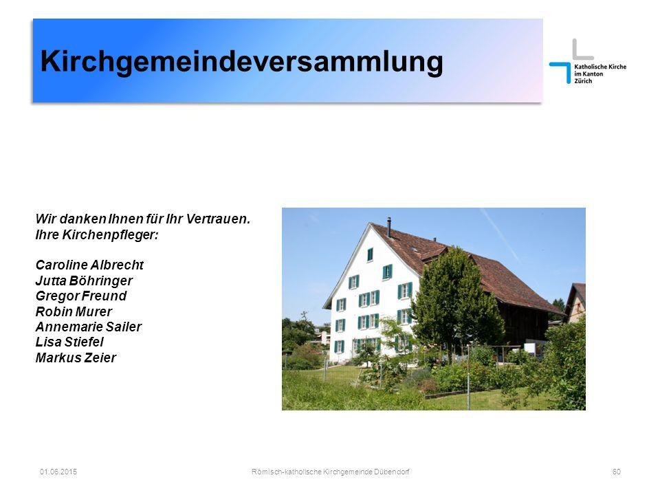 Römisch-katholische Kirchgemeinde Dübendorf60 Kirchgemeindeversammlung 01.06.2015 Wir danken Ihnen für Ihr Vertrauen.
