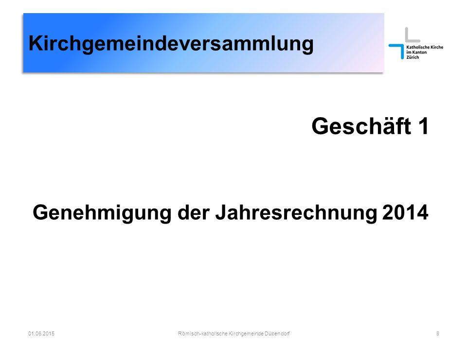 Kirchgemeindeversammlung Römisch-katholische Kirchgemeinde Dübendorf2901.06.2015 Rückbau Büros 1.Obergeschoss zu Mietwohnung