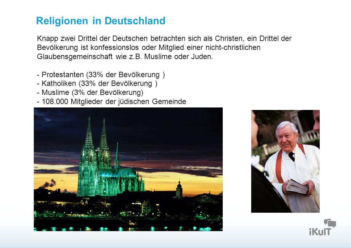 Startseite Religionen in Deutschland Knapp zwei Drittel der Deutschen betrachten sich als Christen, ein Drittel der Bevölkerung ist konfessionslos oder Mitglied einer nicht-christlichen Glaubensgemeinschaft wie z.B.