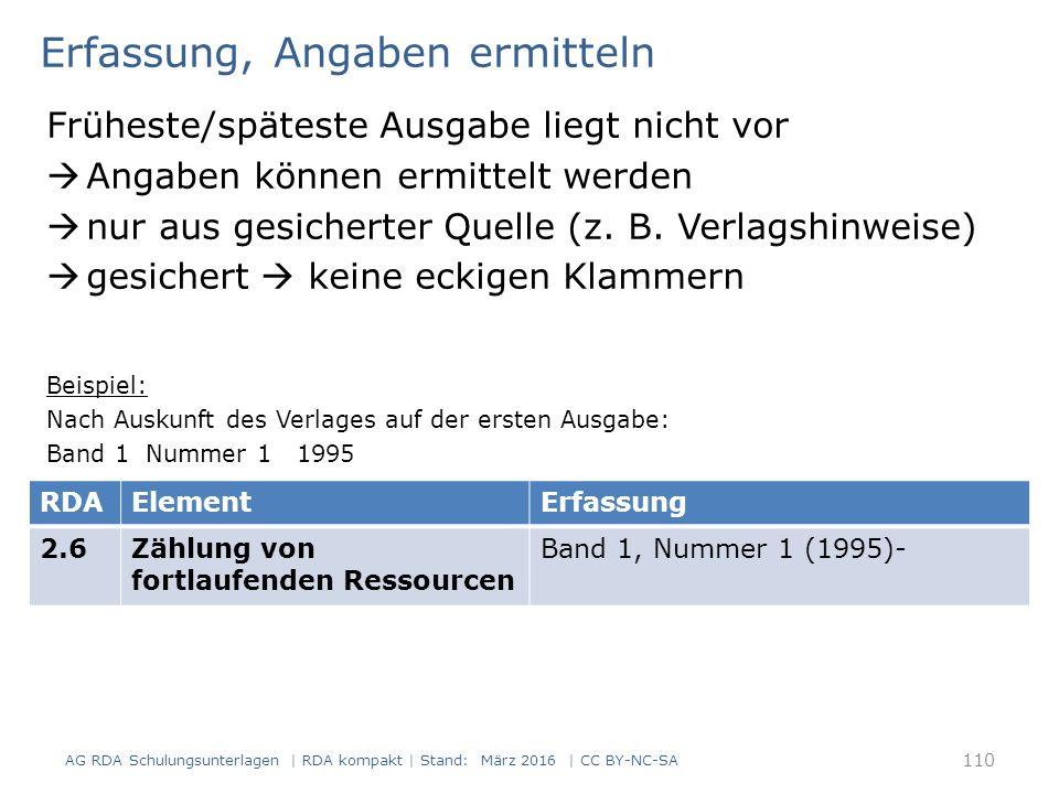 Erfassung, Angaben ermitteln Früheste/späteste Ausgabe liegt nicht vor  Angaben können ermittelt werden  nur aus gesicherter Quelle (z. B. Verlagshi