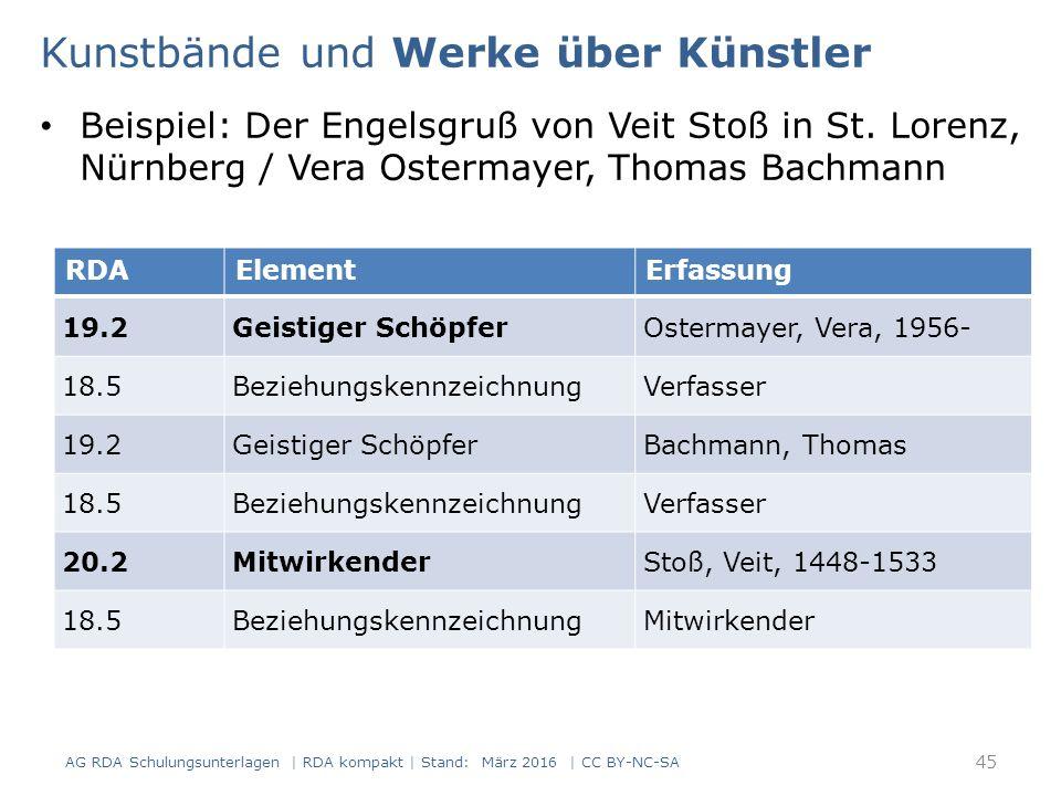 Beispiel: Der Engelsgruß von Veit Stoß in St. Lorenz, Nürnberg / Vera Ostermayer, Thomas Bachmann RDAElementErfassung 19.2Geistiger SchöpferOstermaye