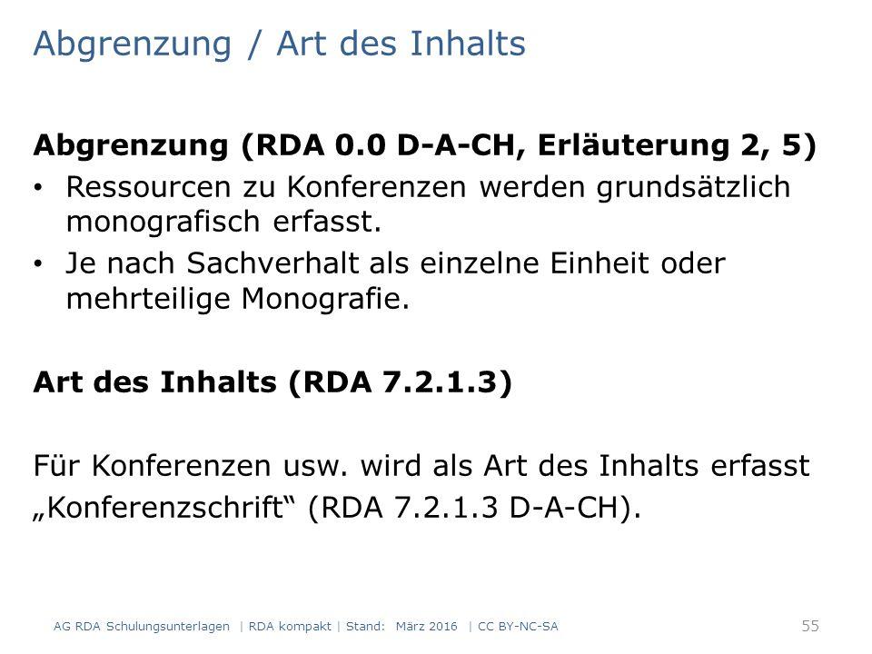 Abgrenzung / Art des Inhalts Abgrenzung (RDA 0.0 D-A-CH, Erläuterung 2, 5) Ressourcen zu Konferenzen werden grundsätzlich monografisch erfasst. Je nac