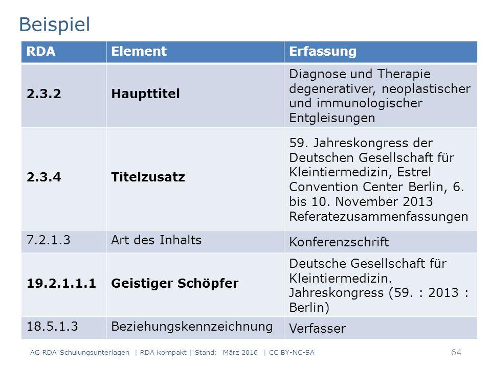 Beispiel 64 RDAElementErfassung 2.3.2Haupttitel Diagnose und Therapie degenerativer, neoplastischer und immunologischer Entgleisungen 2.3.4Titelzusatz