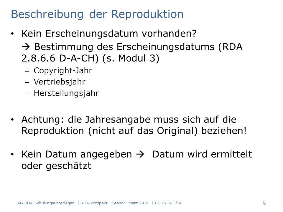 Kunstbände und Werke über Künstler Kunstbände sind zugleich Bildbände Regeln zum Inhaltstyp (RDA 6.9), zur Art des Inhalts (RDA 7.2) und zum illustrierenden Inhalt (RDA 7.15) gelten daher analog AG RDA Schulungsunterlagen | RDA kompakt | Stand: März 2016 | CC BY-NC-SA 39