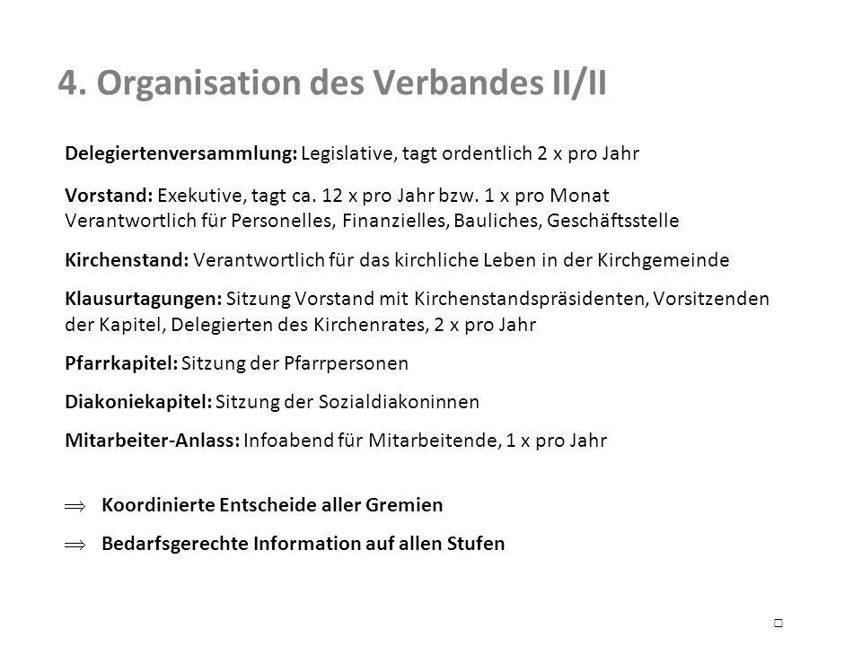 4. Organisation des Verbandes II/II Delegiertenversammlung: Legislative, tagt ordentlich 2 x pro Jahr Vorstand: Exekutive, tagt ca. 12 x pro Jahr bzw.